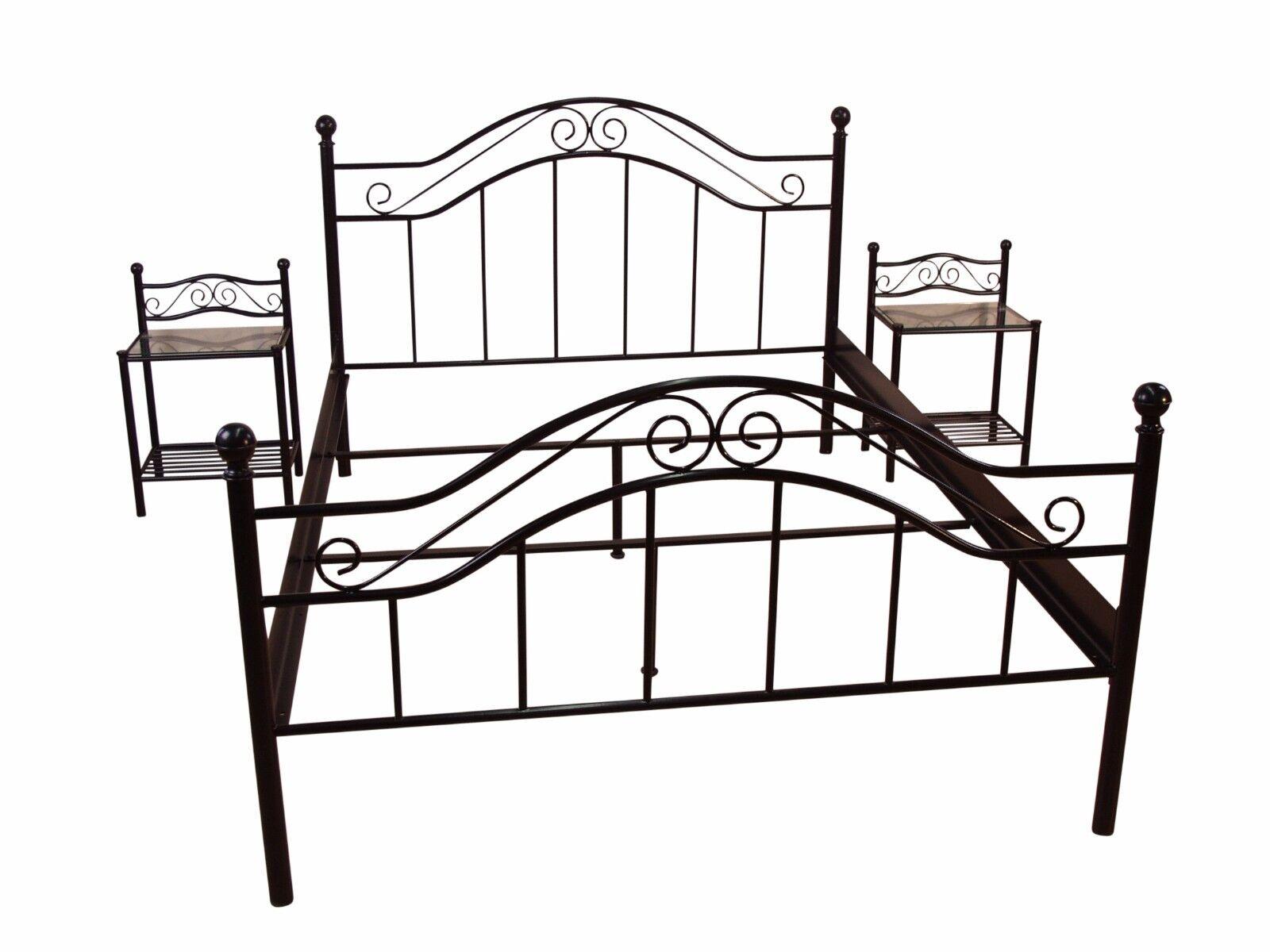 Metallbett schwarz 90x200  Metallbett schwarz 90x200 cm Bett romantisch Ehebett Doppelbett ...