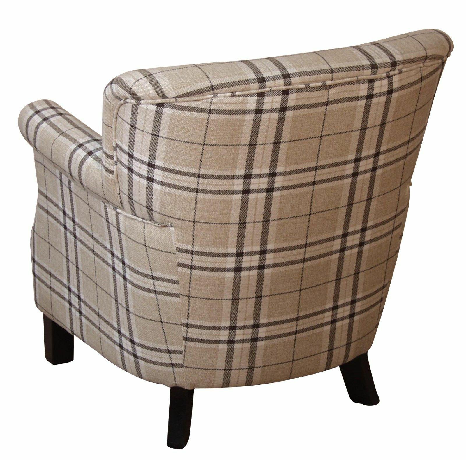Moderner Sessel Kariert Stoff Polstersessel Design Fernsehsessel