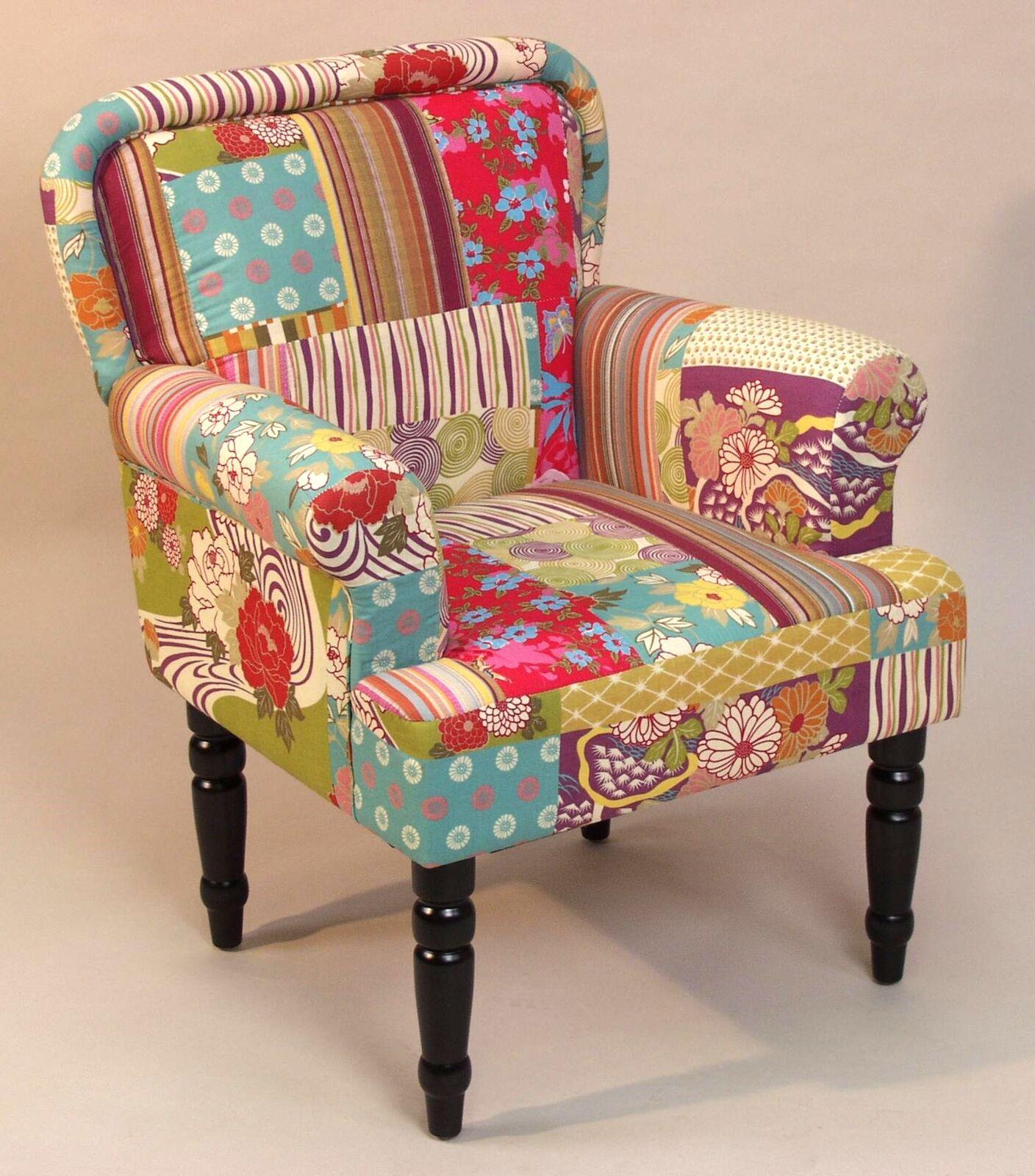 moderner sessel polstersessel bunt club gepolstert patchwork design g nstig neu kaufen bei go. Black Bedroom Furniture Sets. Home Design Ideas