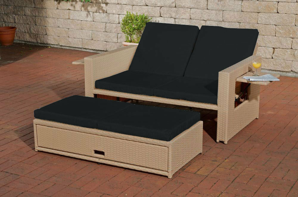 Poly Rattan 2er Lounge Sofa Sand Gartensofa Couch Lounge Terrasse