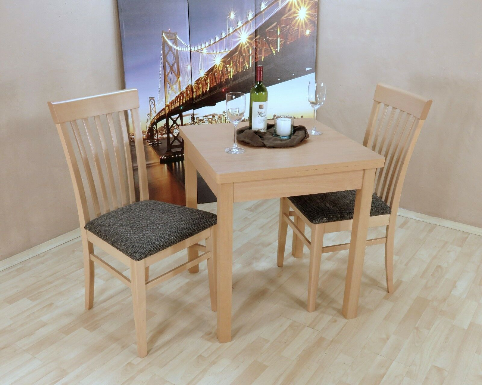 Tischgruppe Buche Massiv Natur Anthrazit Essgruppe 2 X Stühle