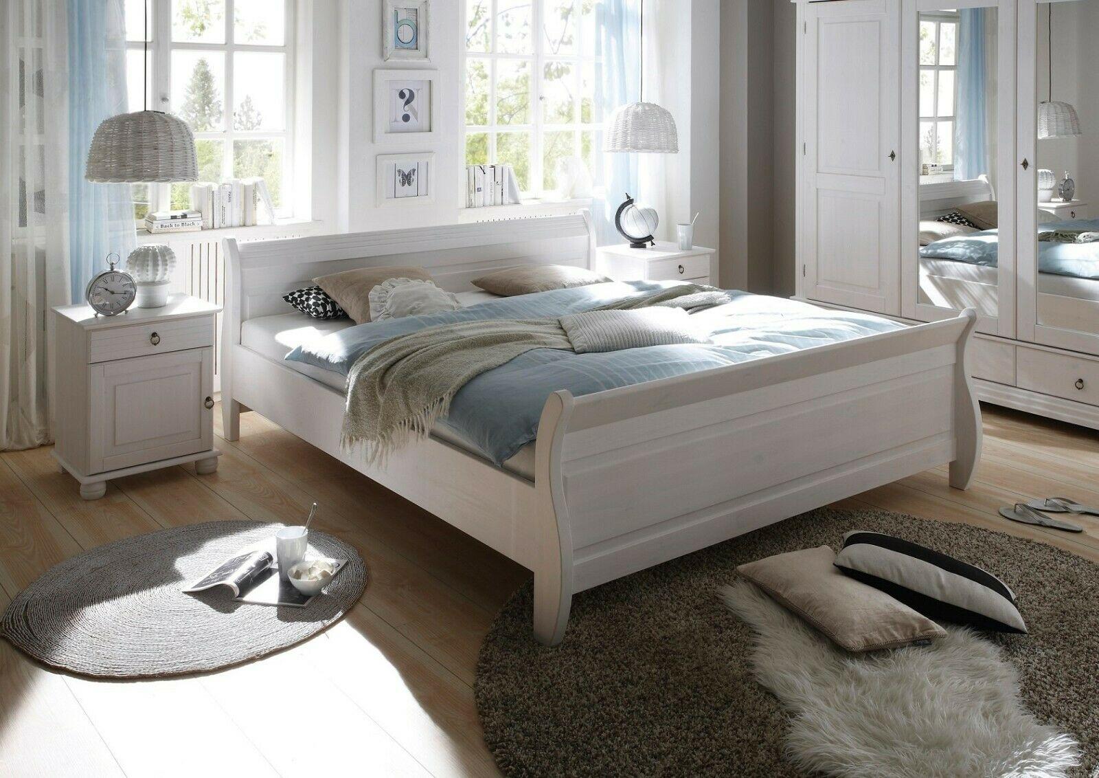 Schlafzimmer-Set Kiefer massivholz weiß Doppelbett 180x200 cm 2 x  Nachttische - yatego.com