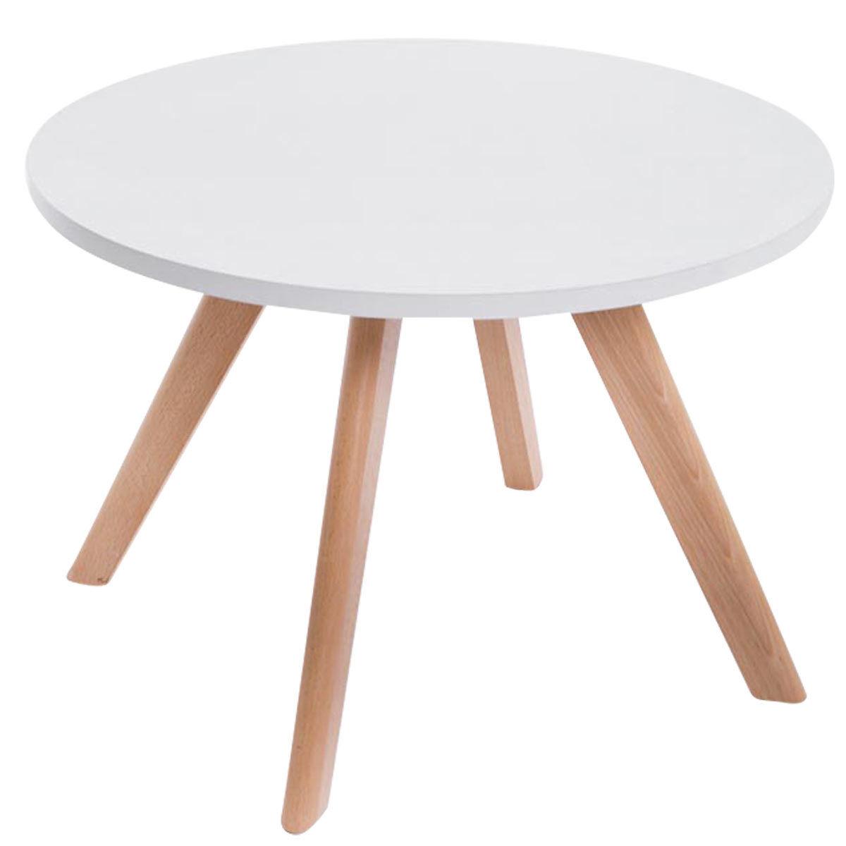 Couchtisch weiß rund Wohnzimmertisch moderner Beistelltisch design Holzbeine