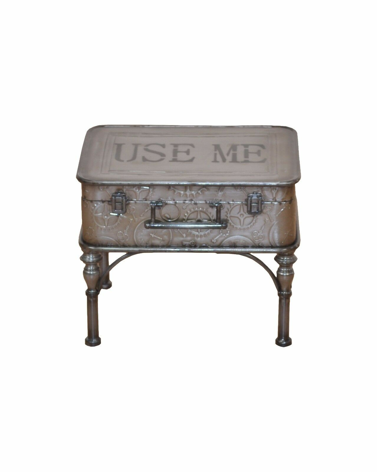 couchtisch koffer metall beistelltisch vintage used look design