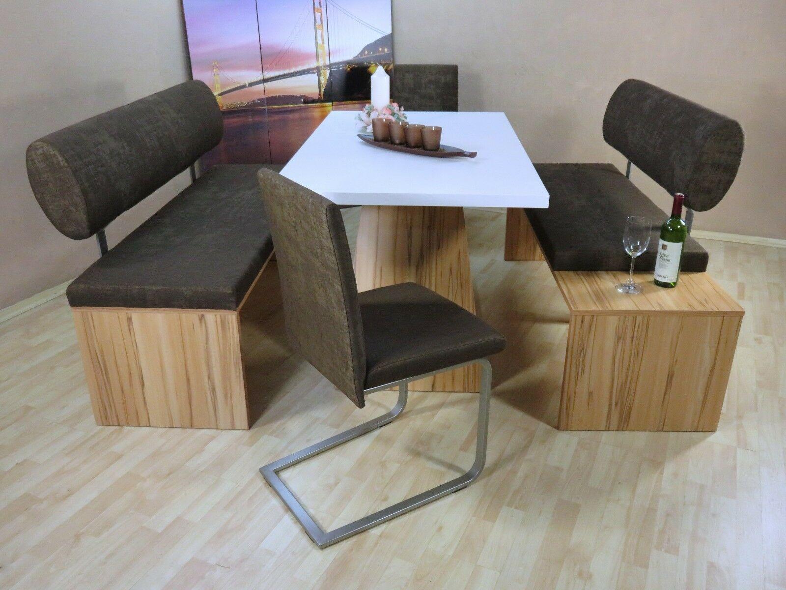 Stühle schoko Essgruppe 2 Sitzbank Dinninggruppe Bänke Eckbankgruppe Kernbuche x RqA54jL3