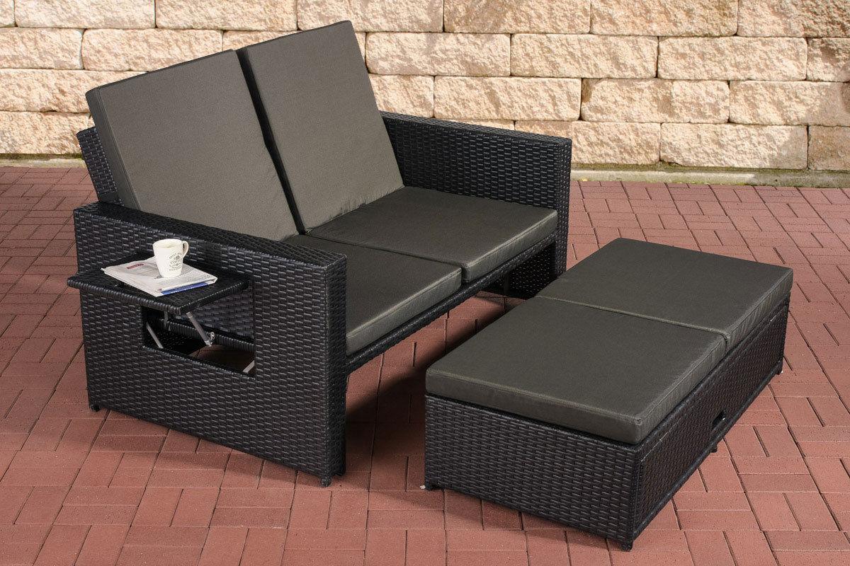 Poly rattan 2er lounge sofa anthrazit gartensofa couch lounge terrasse outdoor kaufen bei go for Rattan loungemobel anthrazit