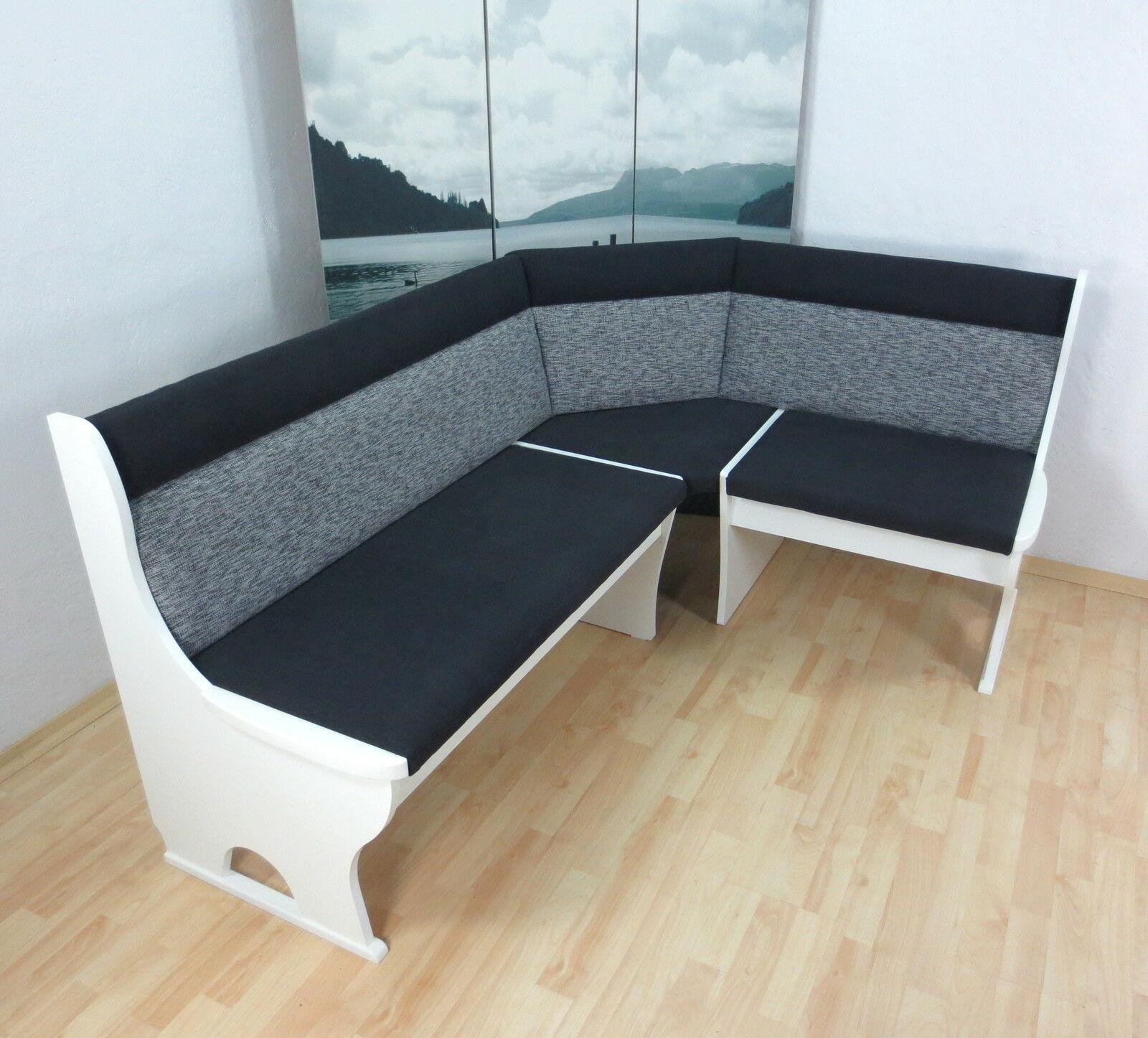 moderne Truheneckbank teilmassiv weiß schwarz grau Sitzecke Küche ...