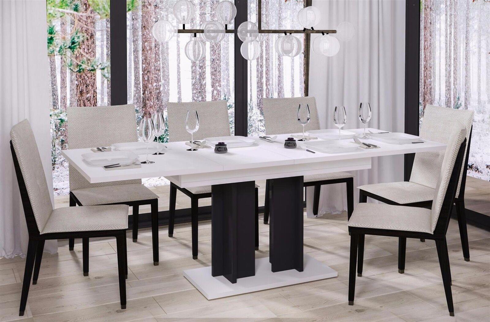 Design Säulentisch 130 210 Ausziehbar Hochglanz Weiß Schwarz Esstisch Zweifarbig