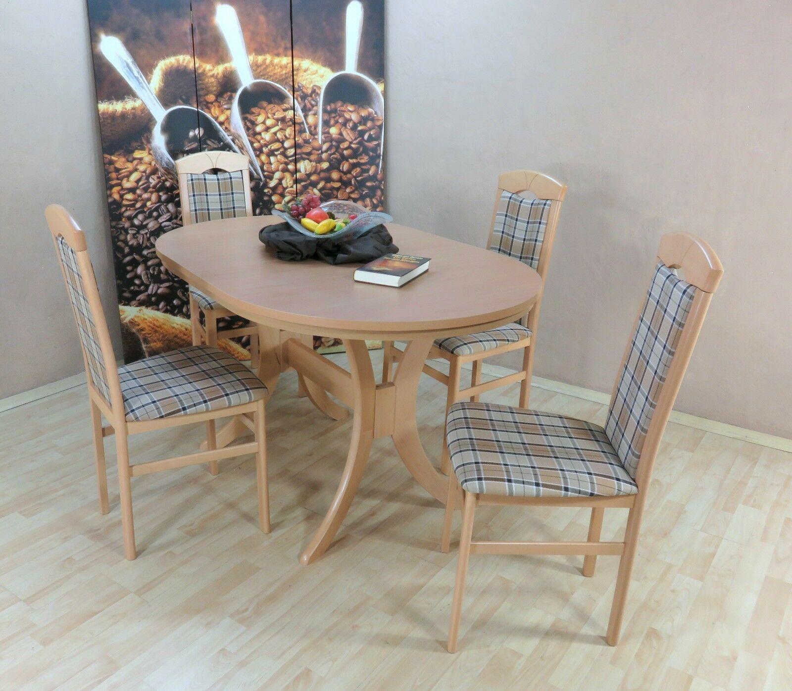Tischgruppe Buche Natur Beige Braun Massiv 4 X Stühle Esstisch