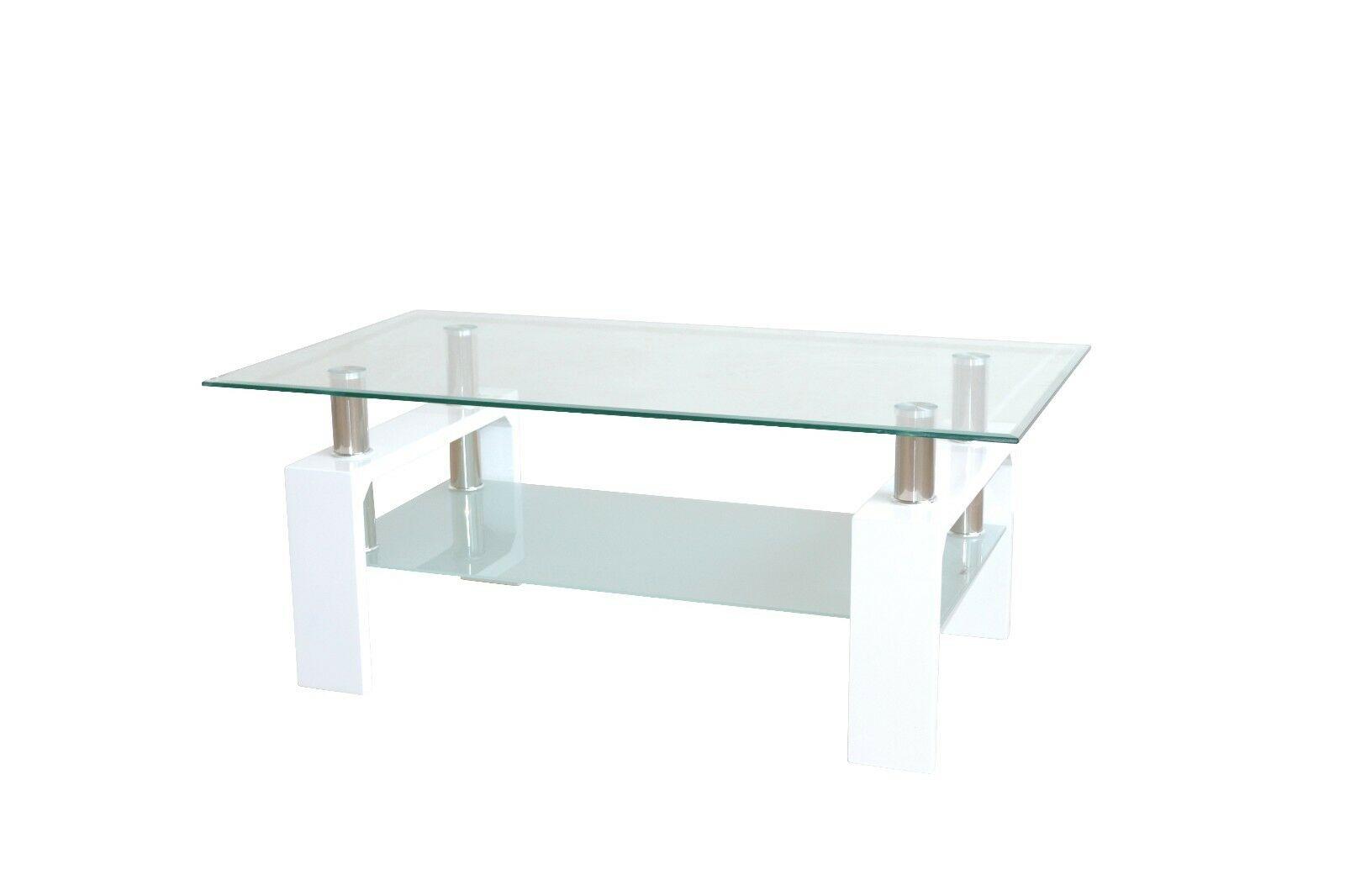 Moderner Couchtisch Weiß Glastisch Design Wohnzimmertisch Sofatisch