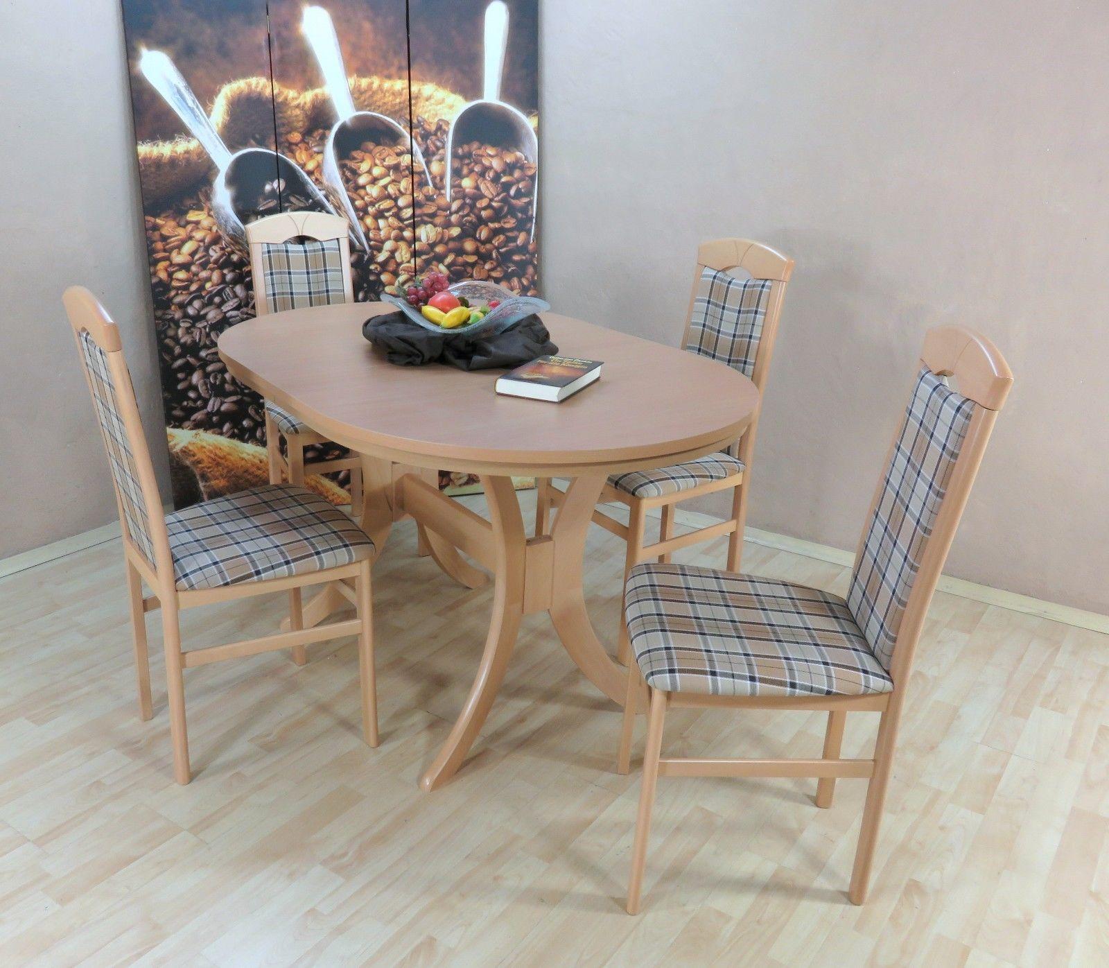 Elegant Esstisch Stühle Beige Foto Von Tischgruppe Buche Natur Braun Massiv 4 X