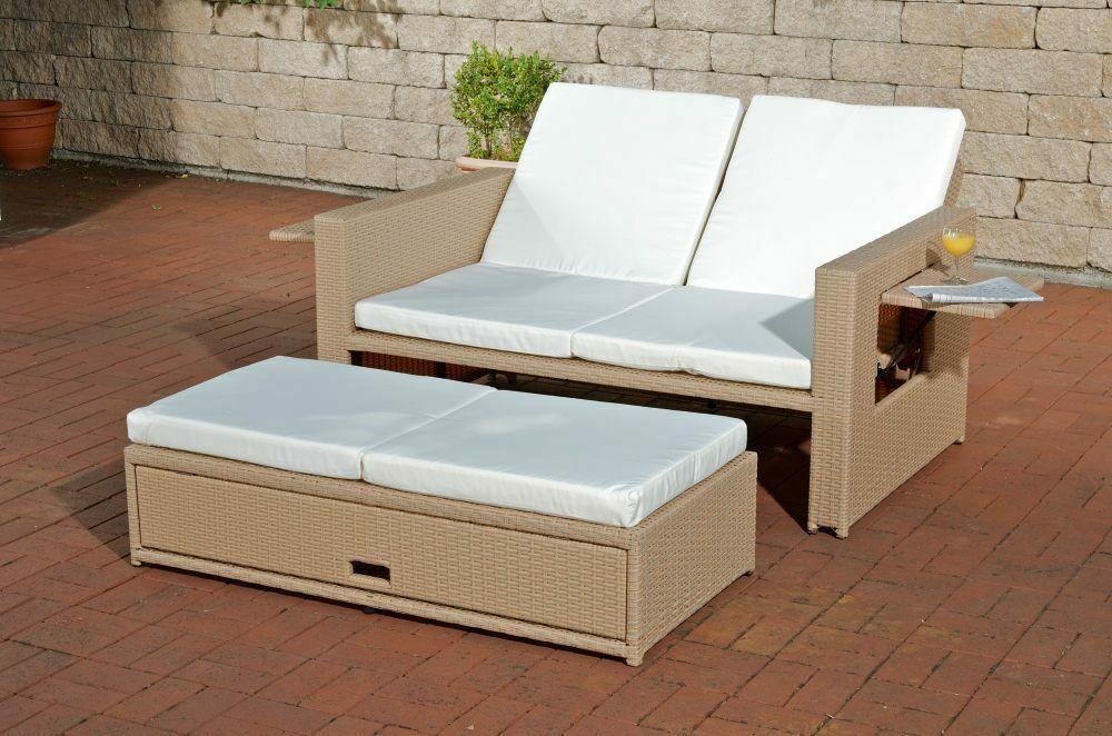 Poly Rattan 2er Lounge Sofa Sandfarben Gartencouch Sonnenliege Terrasse Balkon
