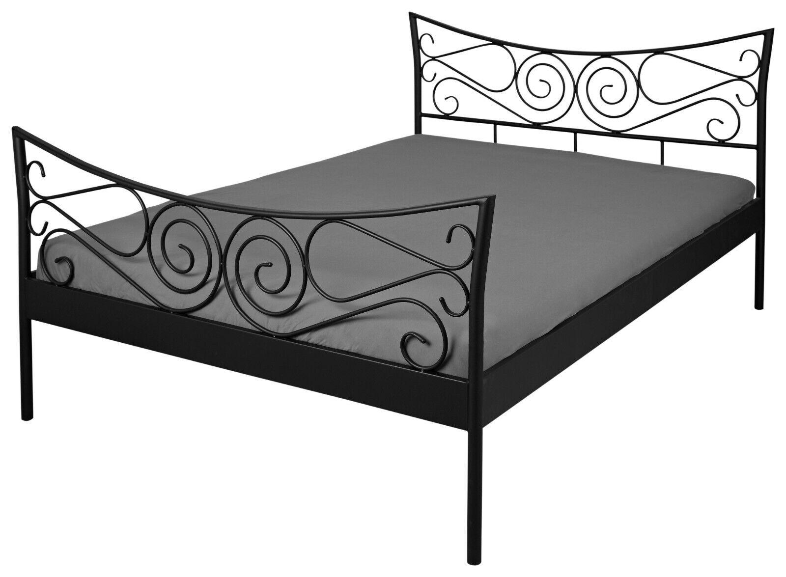 Möbel Romantisches Bett 140 X 200 Cm Schwarz Ehebett