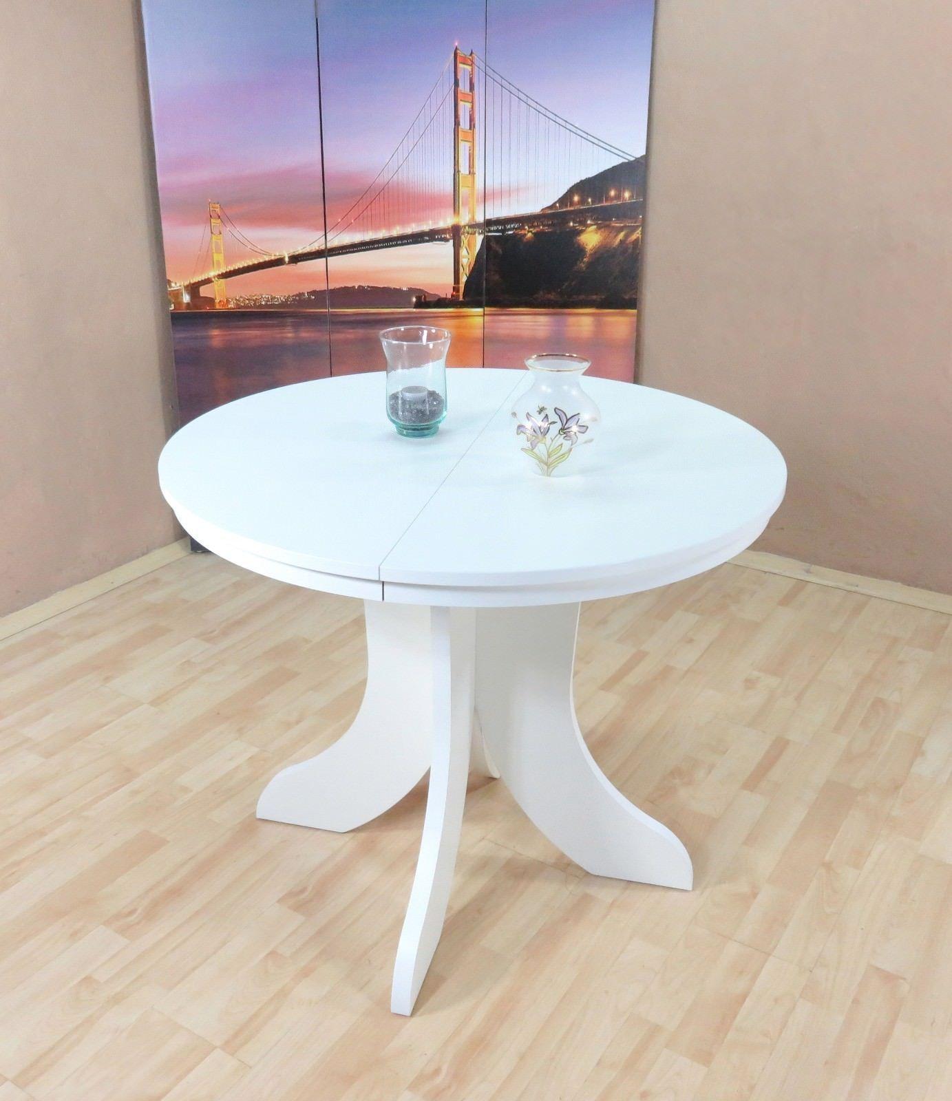 Esstisch weiß rund Ausziehbar Küche Esszimmer Bistrotisch günstig ...