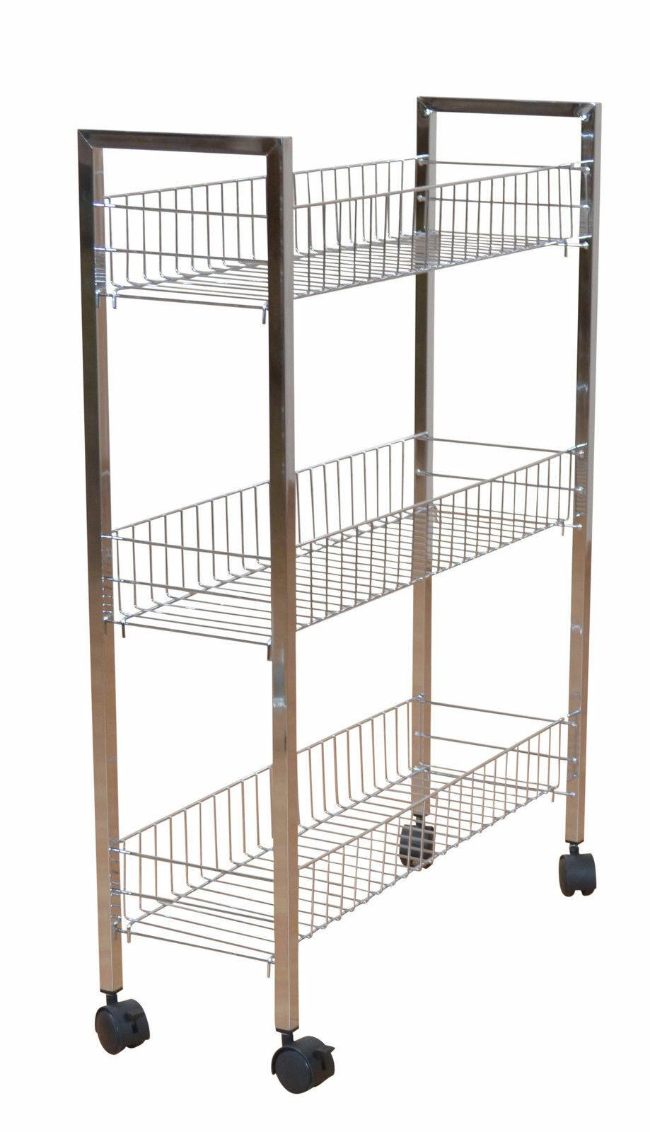 modernes Ordnungsregal mit Rollen Chrom Bad Küche Metallregal Regal Rollbar