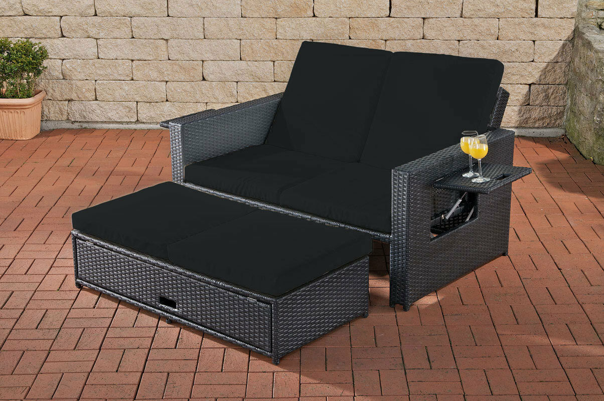 poly rattan 2er lounge sofa anthrazit gartensofa couch lounge terrasse outdoor kaufen bei go. Black Bedroom Furniture Sets. Home Design Ideas