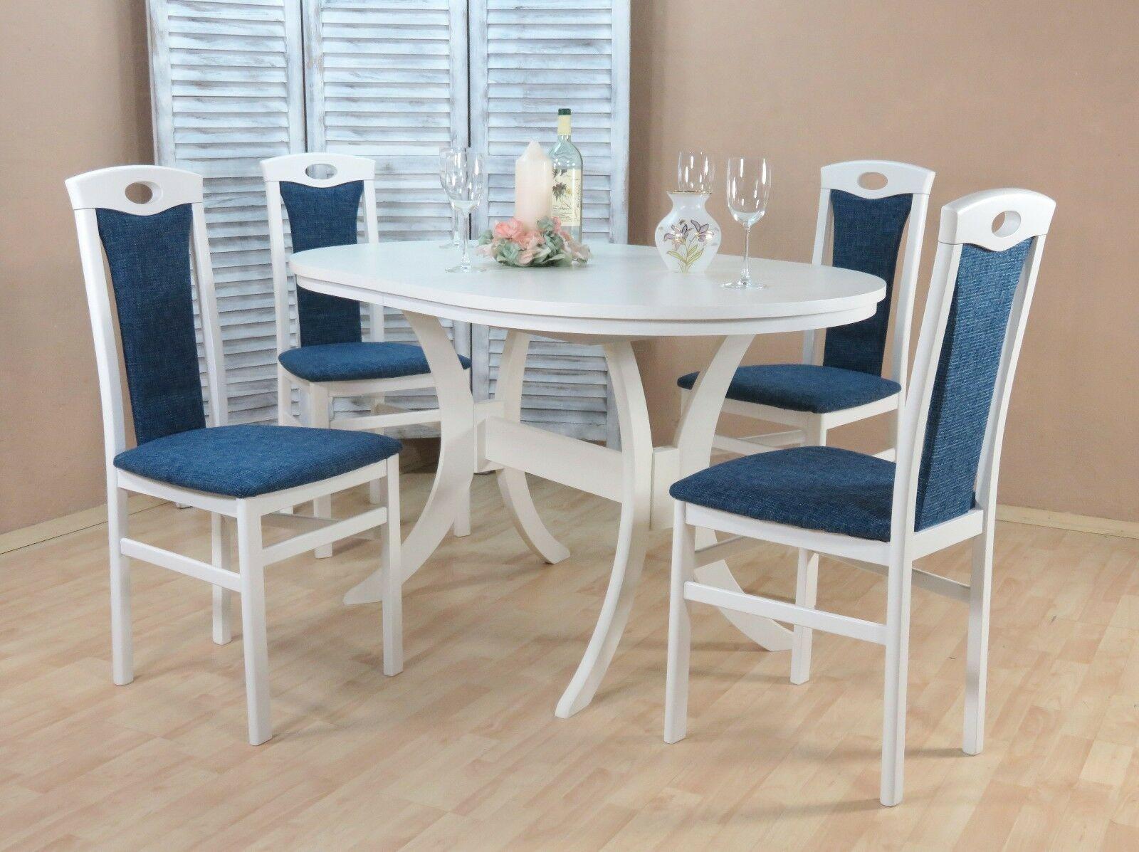 Moderne Tischgruppe 5 Teilig Buche Massiv Weiß Blau Tisch Essgruppe