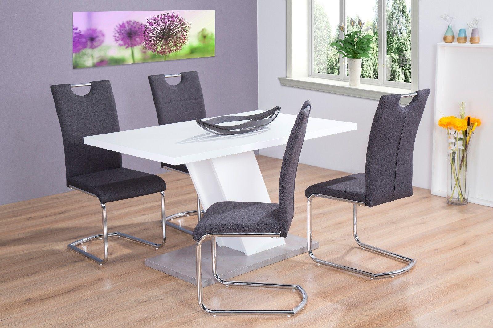 Esstisch Weiss Betonoptik 140x80 Esszimmer Wohnzimmertisch Modern Design Gnstig 1