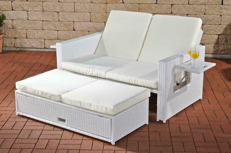Poly Rattan 2er Lounge Sofa Weiß Gartencouch Sonnenliege Terrasse Balkon