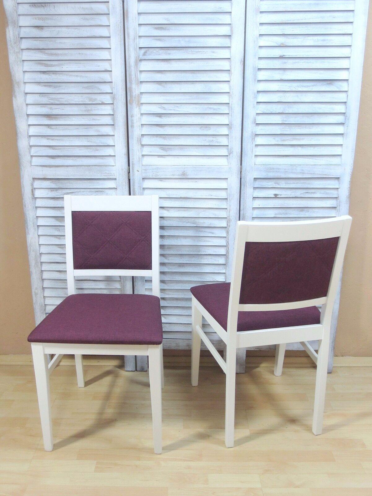 2 X Stühle Massivholz Weiß Violett Esszimmerstühle Küchenstühle Modern Design Yategocom