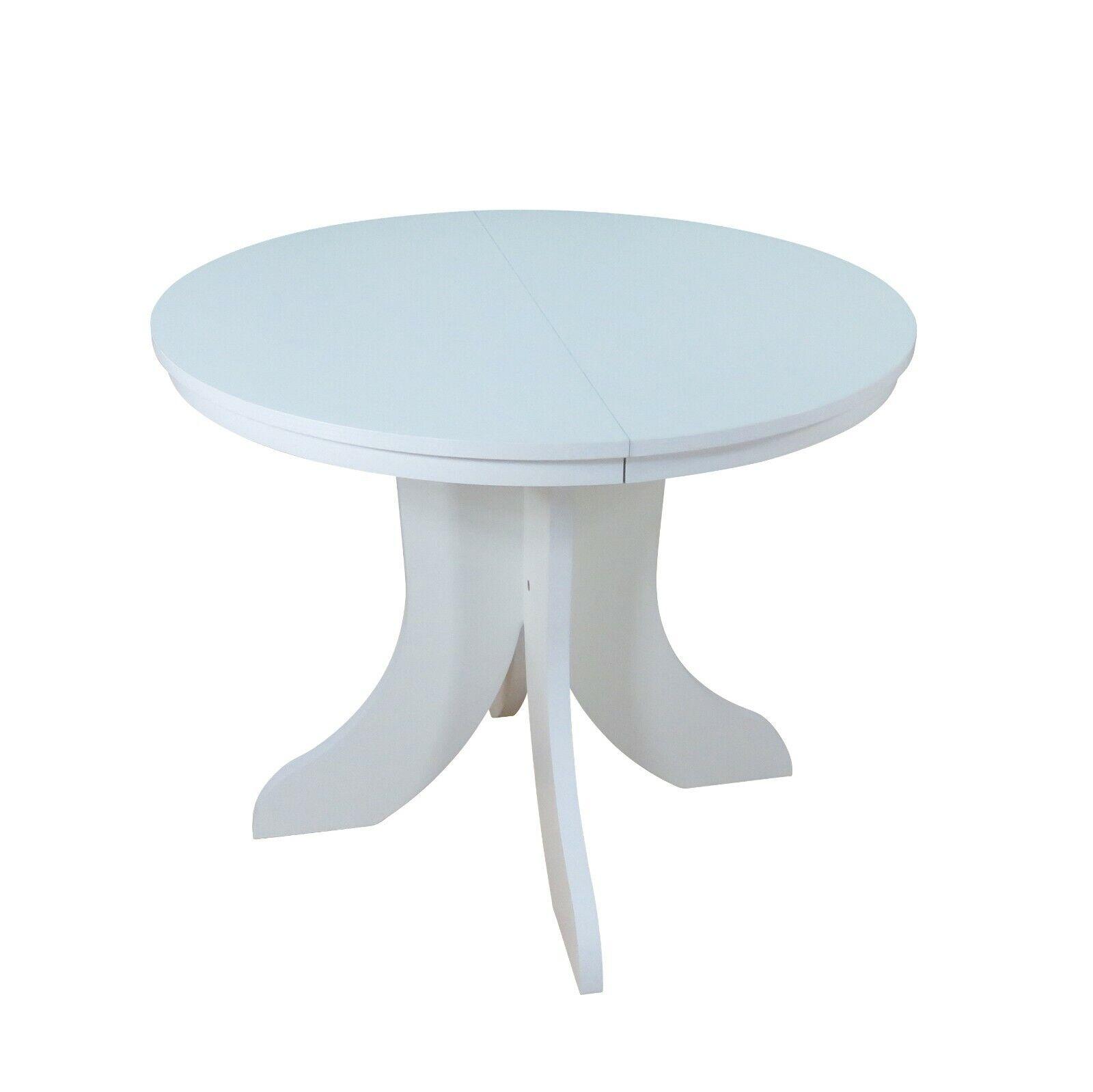 Esszimmertisch weiß rund Esstisch mit Funktion erweiterbar Auszug verstellbar
