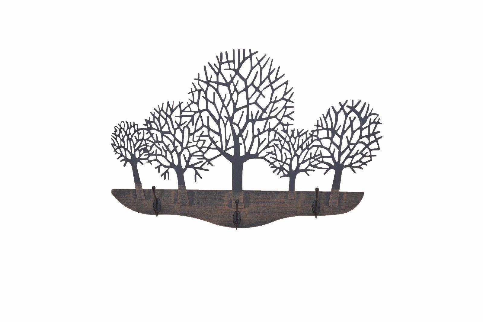 wandgarderobe wald garderobe baum flurgarderobe 3 haken aus metall antik braun kaufen bei go. Black Bedroom Furniture Sets. Home Design Ideas