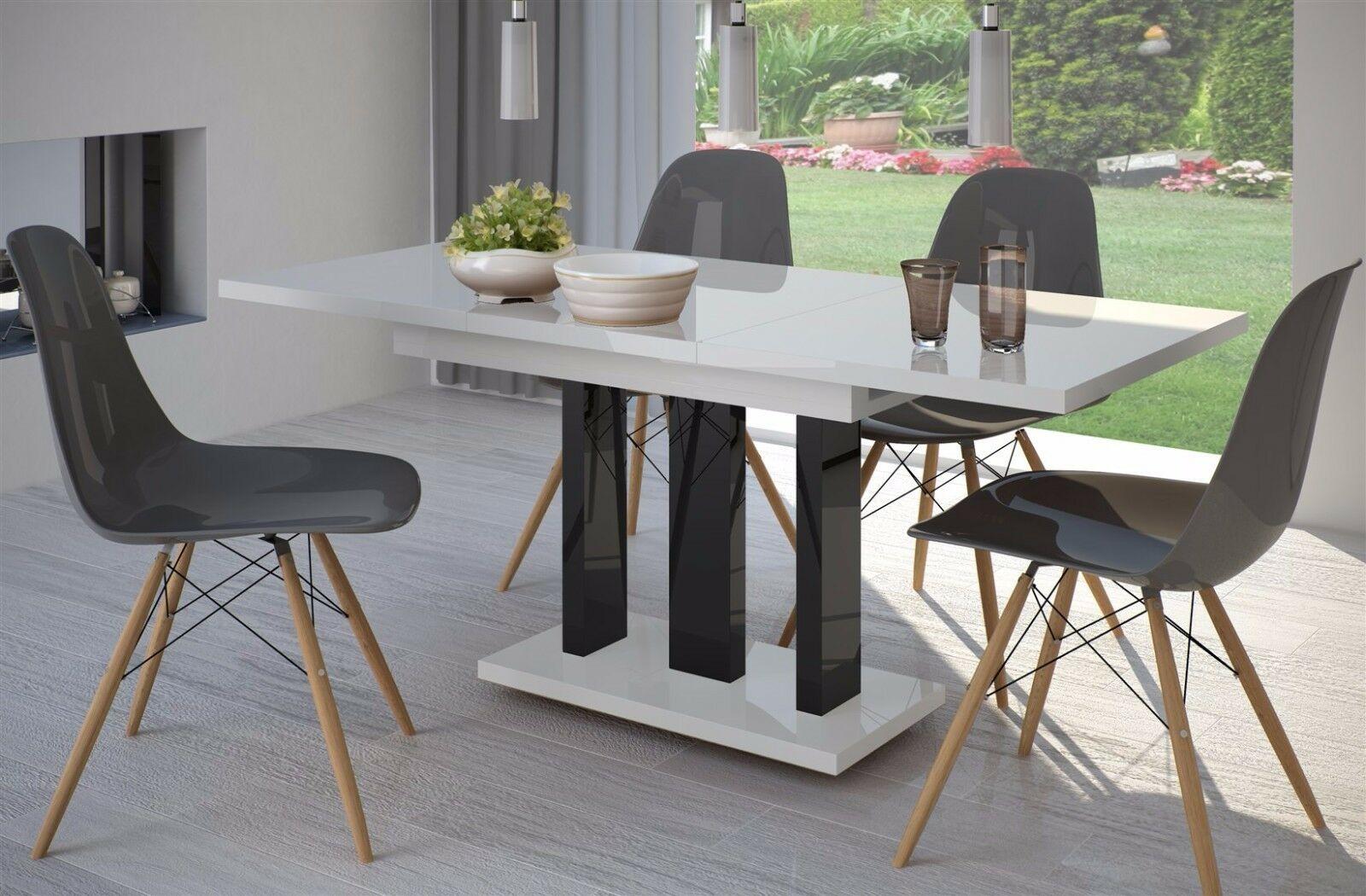 Fesselnd Säulentisch Hochglanz Schwarz Weiß 110cm Edler Esstisch Ausziehbar Design  Modern
