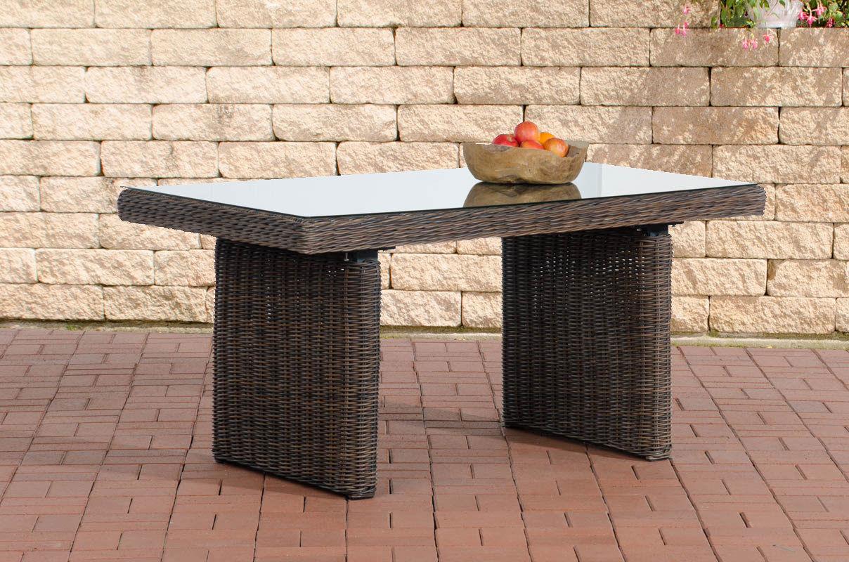 Tisch braun Gartentisch Garten Polyrattan Terrassentisch Rattantisch ...