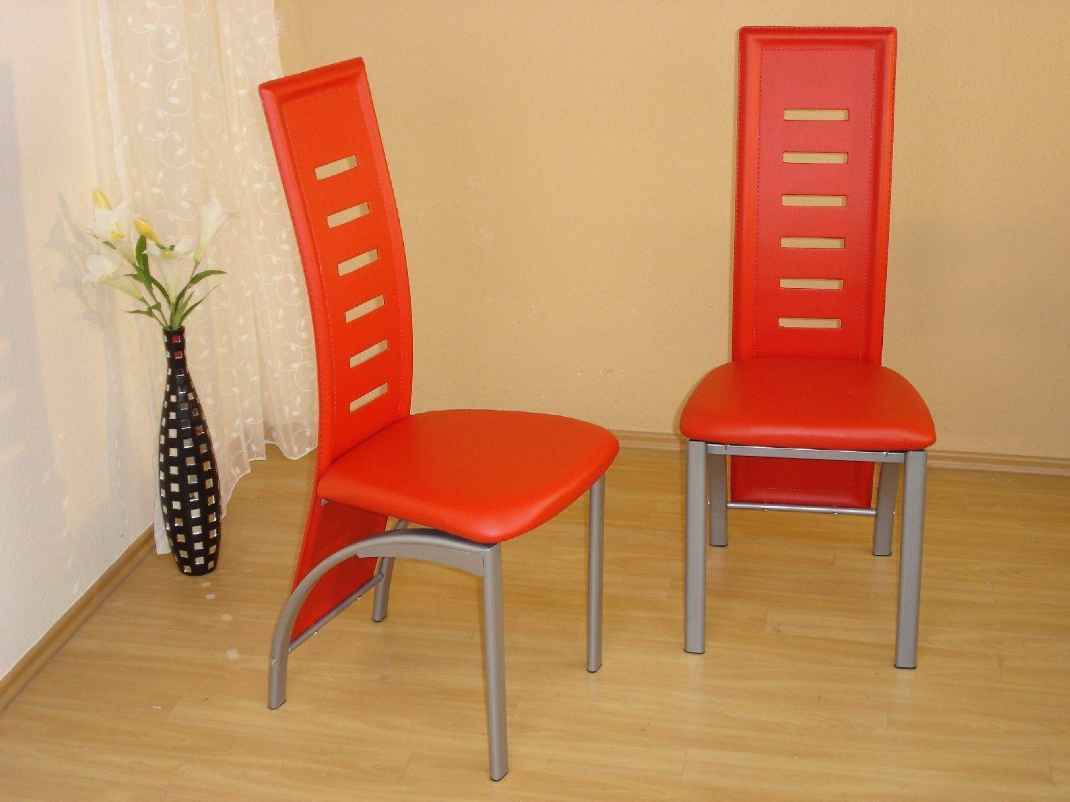 2 X Stuhl Stühle Rot Stuhlset Esszimmerstühle Kunstleder Modern