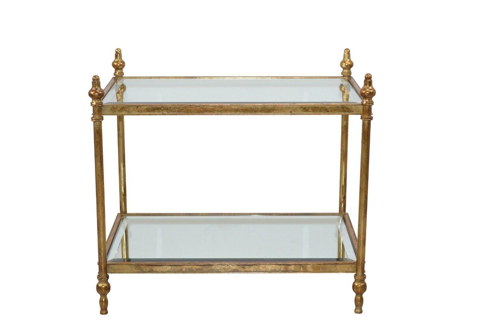 Glastisch goldfarben antik Beistelltisch Couchtisch Vintage design used look