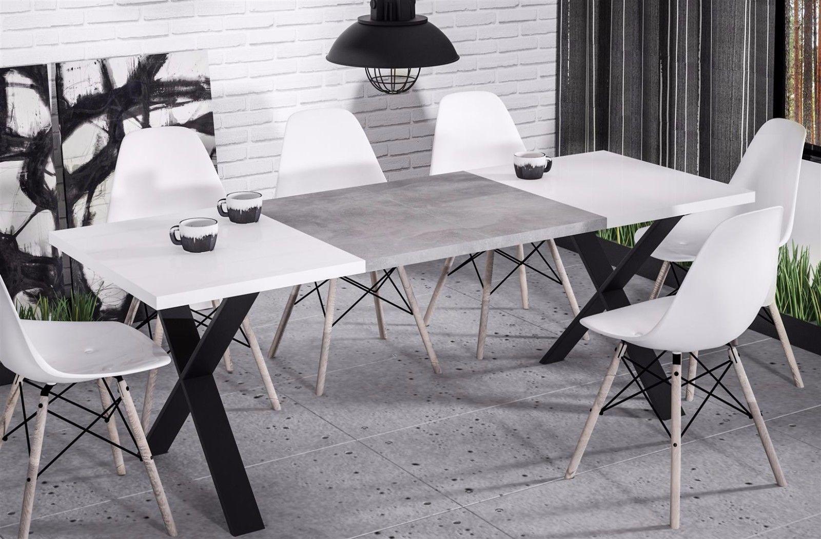 Hochwertiger Esstisch 130 170 Ausziehbar Hochglanz Weiß Beton Esszimmer  Modern