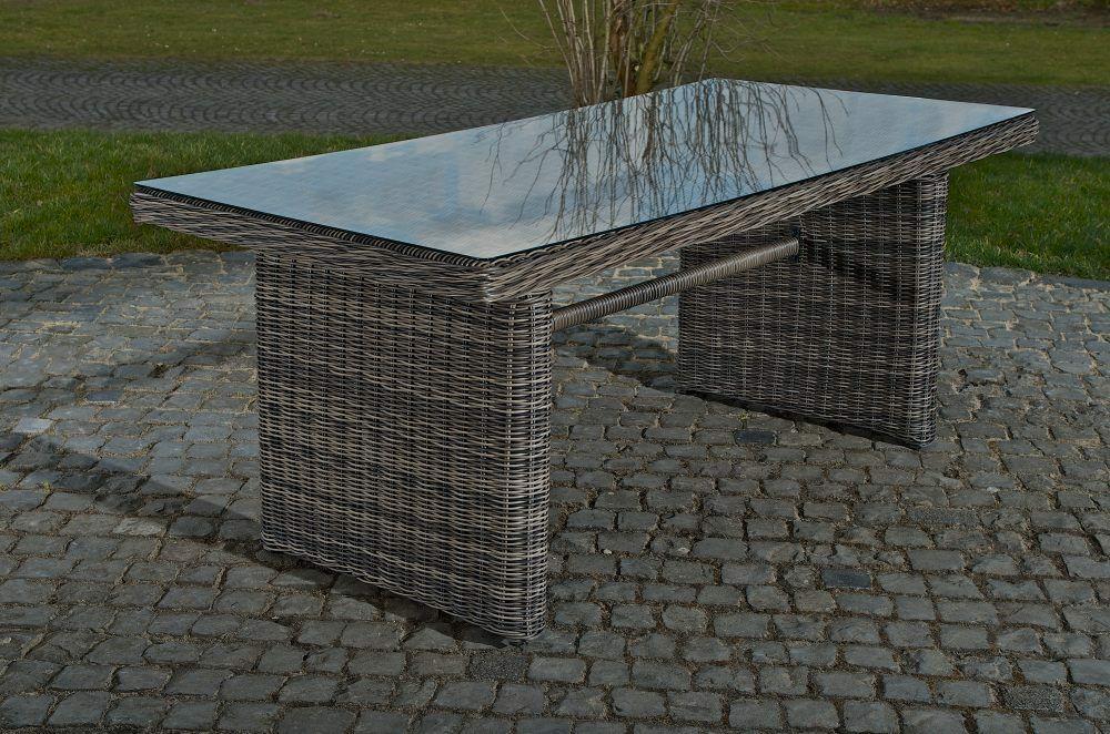 Gartentisch Polyrattan Grau 160 Terrassentisch Rattantisch Glastisch