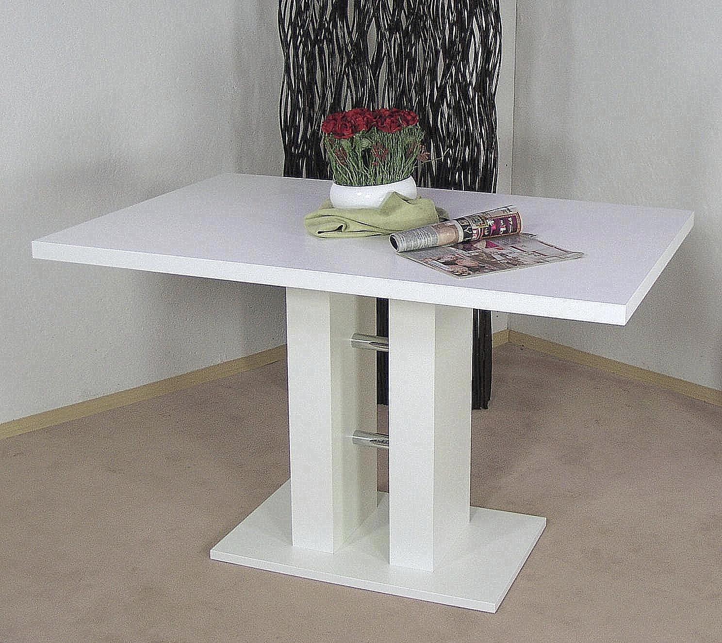 Säulentisch Eckbanktisch weiß Esstisch Esszimmertisch Tisch ...