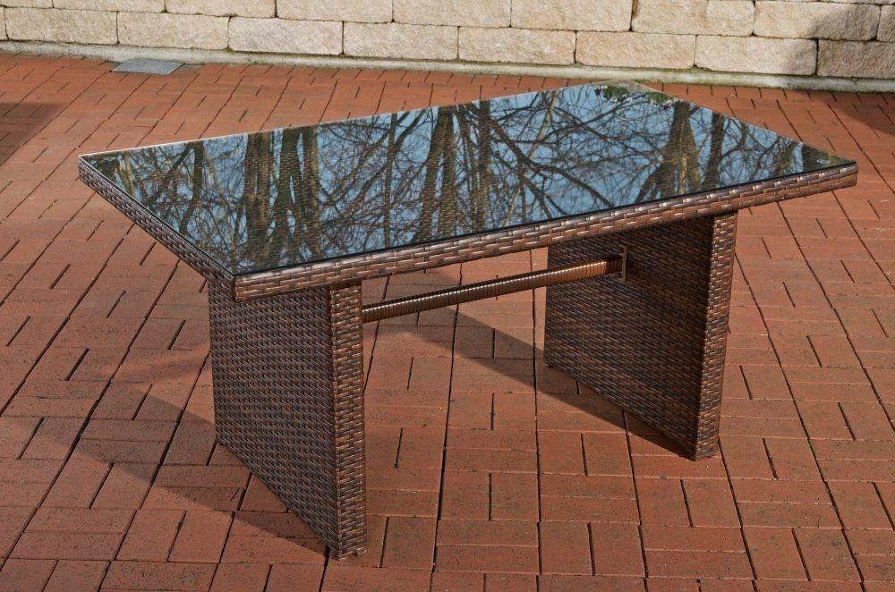 Gartentisch Braun Rattantisch Glastisch Lounge Terrasse Hochwertig