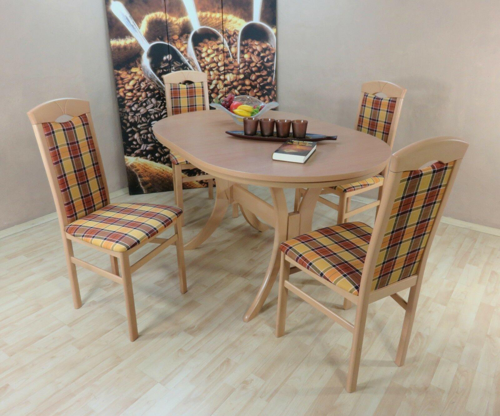 Tischgruppe Buche Natur Gelb Braun Massiv 4 X Stühle Esstisch