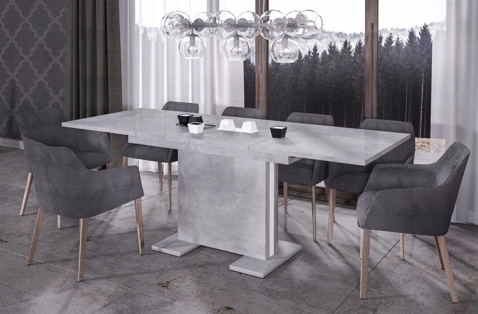 Esstisch modern ausziehbar  design Säulentisch Beton ausziehbar Auszug Esstisch modern günstig ...