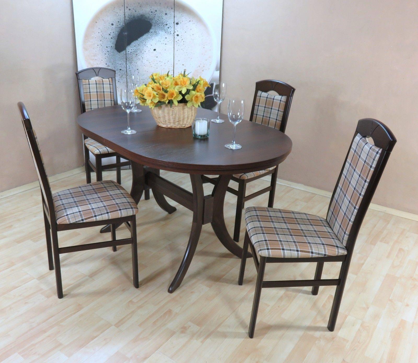 Außergewöhnlich Esstisch Stühle Beige Referenz Von Tischgruppe Nuss Dunkel Braun Massiv 4x Stühle