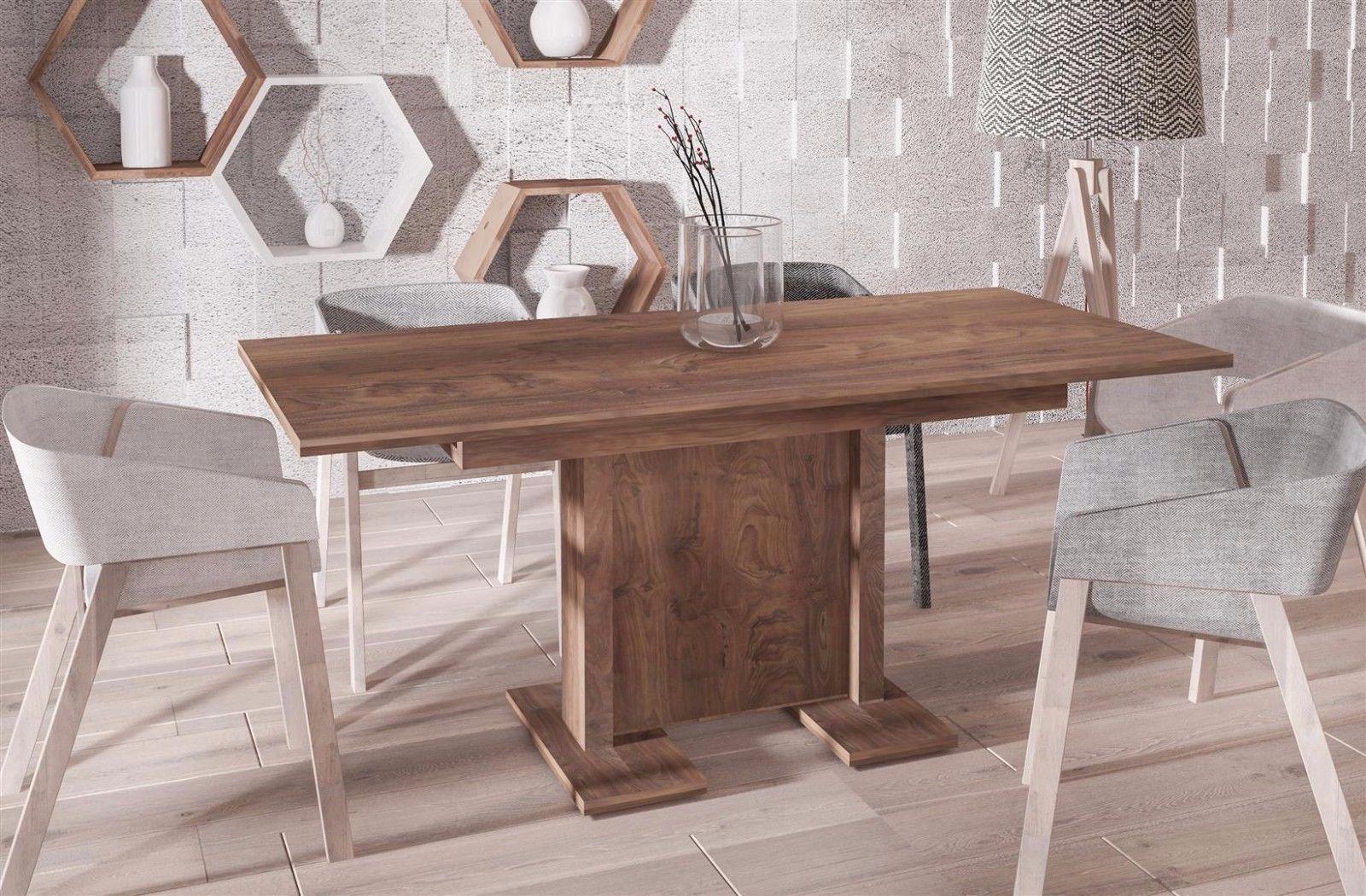 Esstisch modern günstig  hochwertiger Säulentisch nussbaum 130-210 cm ausziehbar Esstisch ...