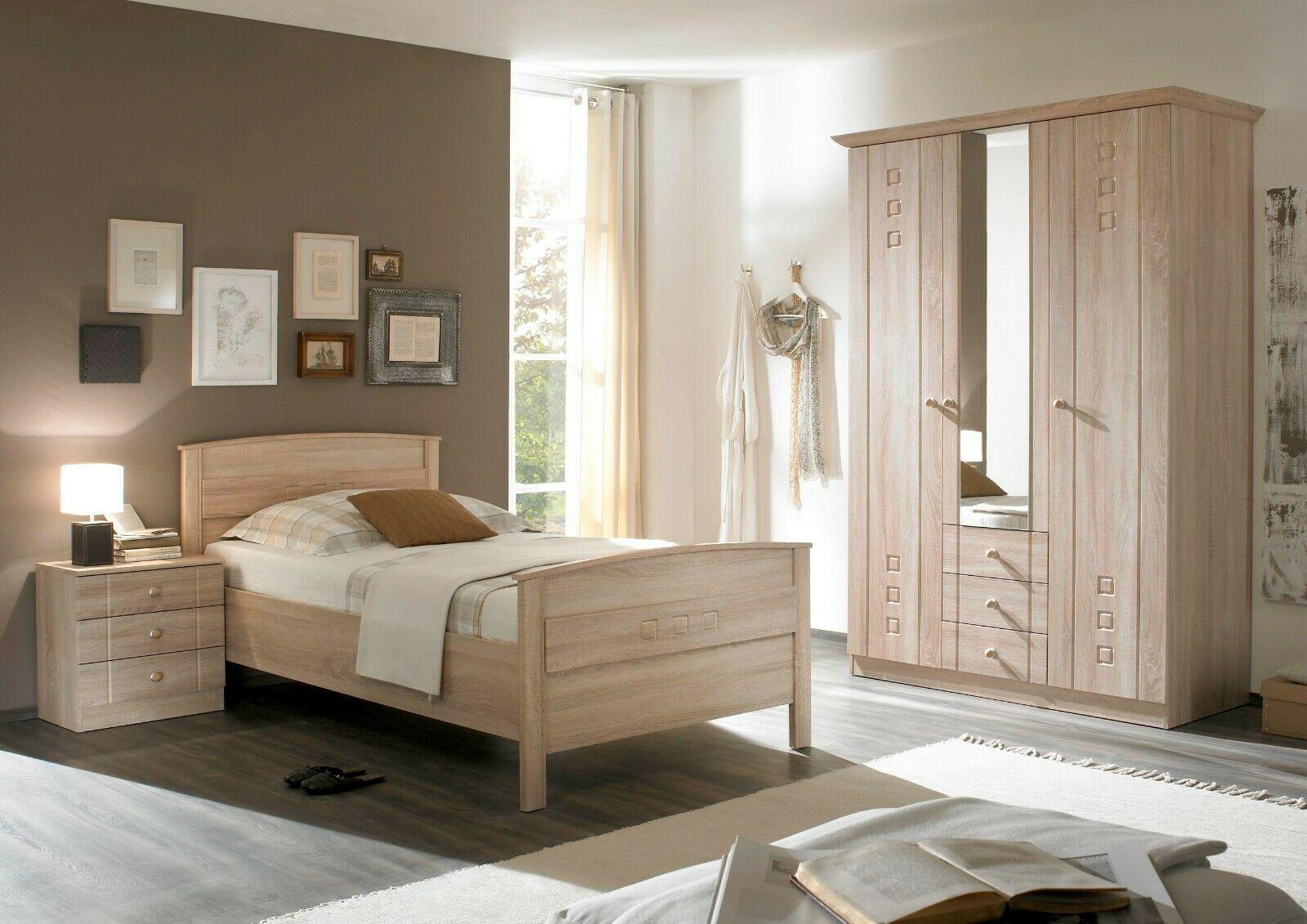 Schlafzimmer Komplettset Sonoma Eiche Seniorenzimmer Schrank Bett Nachttisch