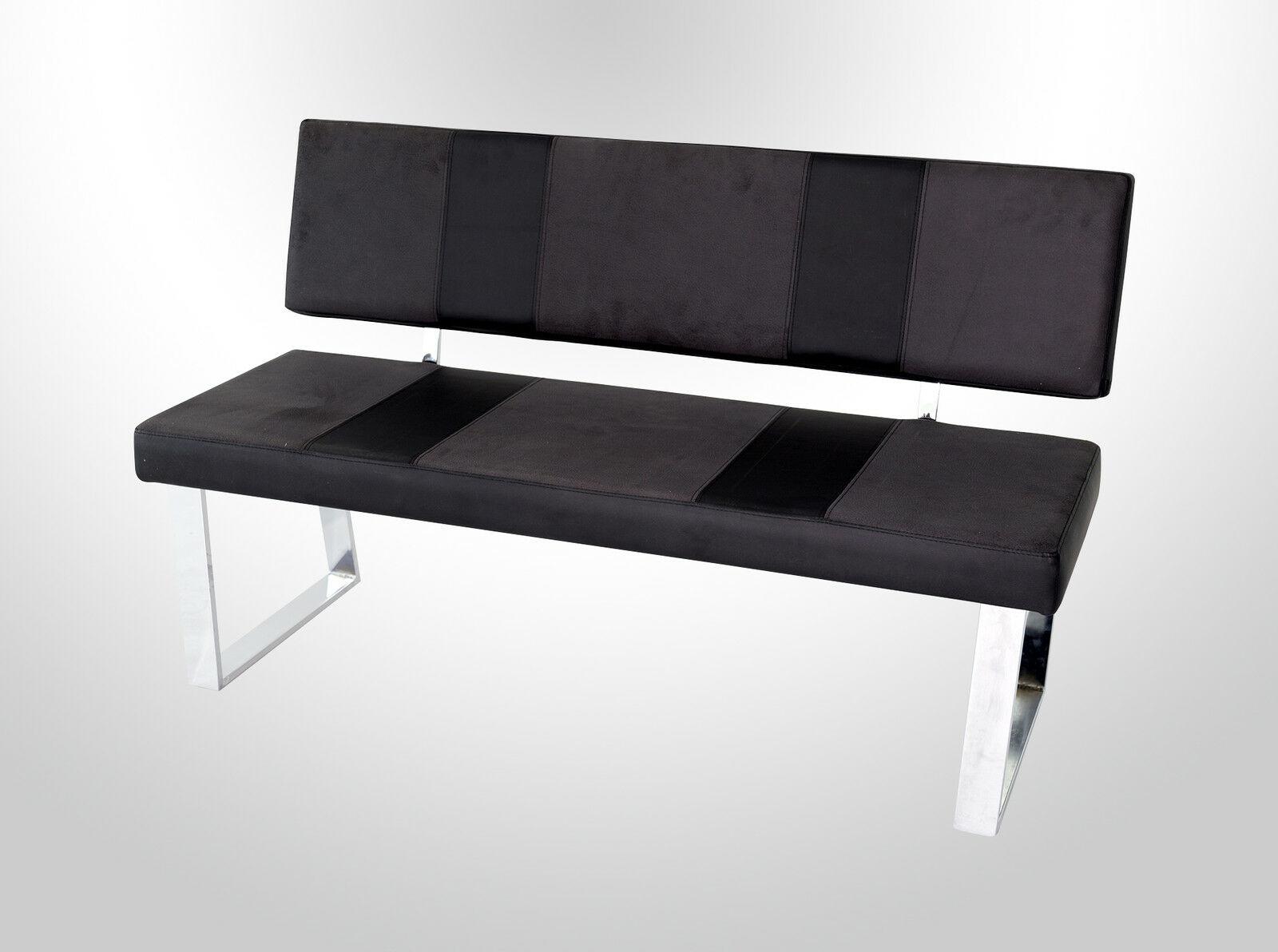 Moderne Sitzbank Grau Schwarz Hockerbank Design Leder Look Gunstig