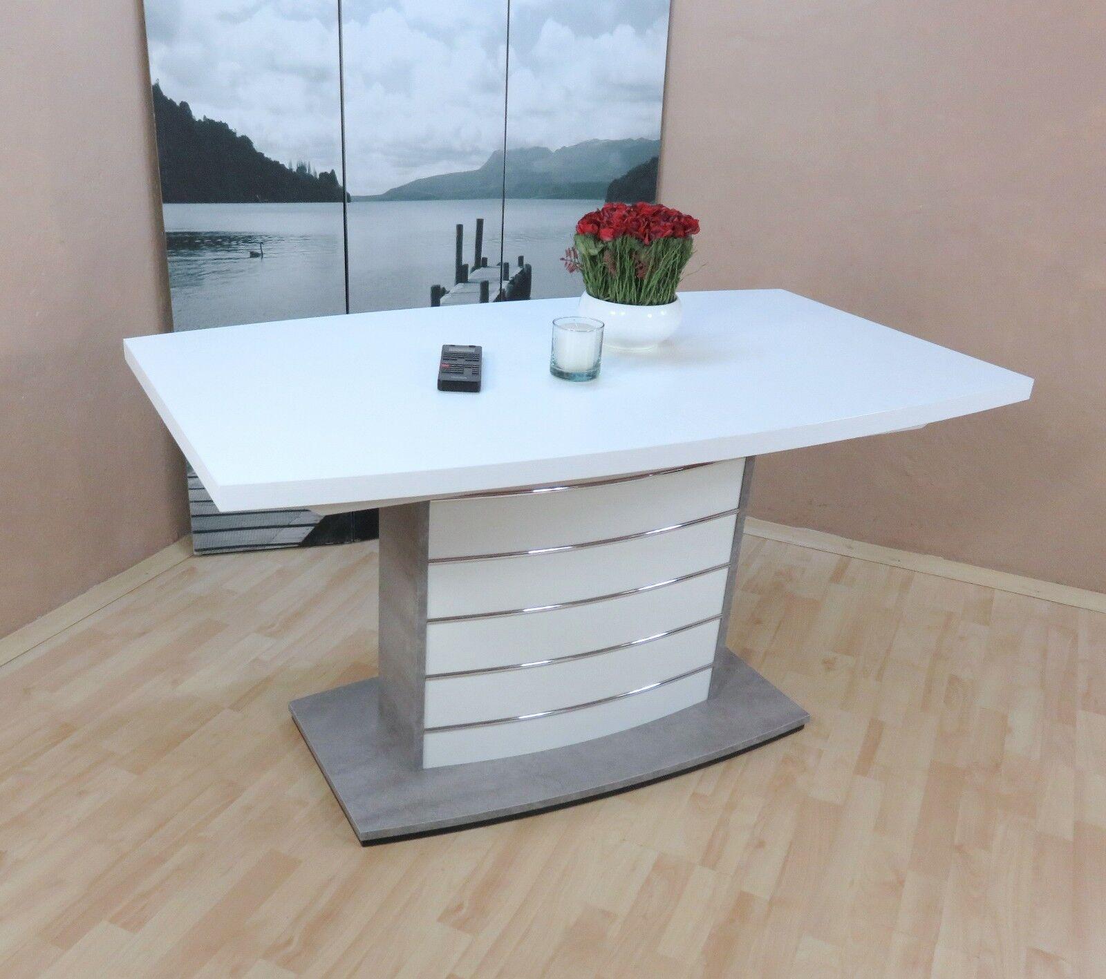 Säulentisch Weiß Beton Silber Esstisch Auszugtisch Ausziehbar Edel Design  Modern