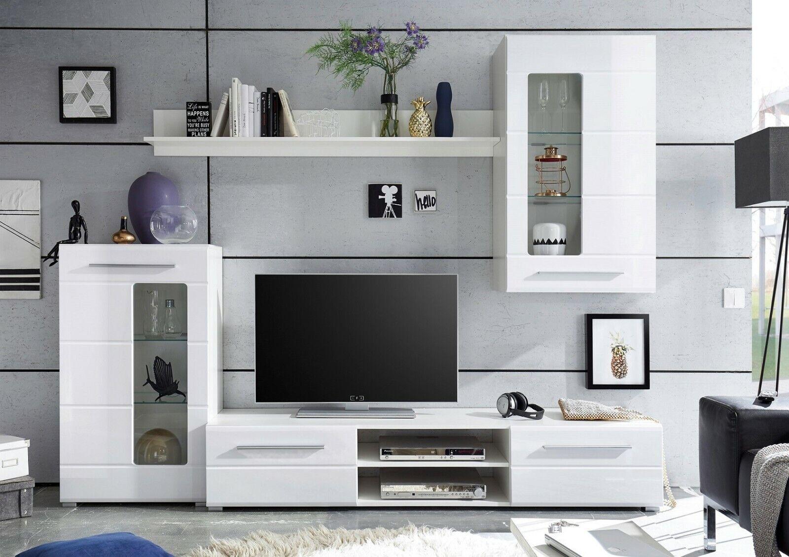 Wohnwand Hochglanz Weiss Schrankwand Anbauwand Wohzimmerwand Modern Design