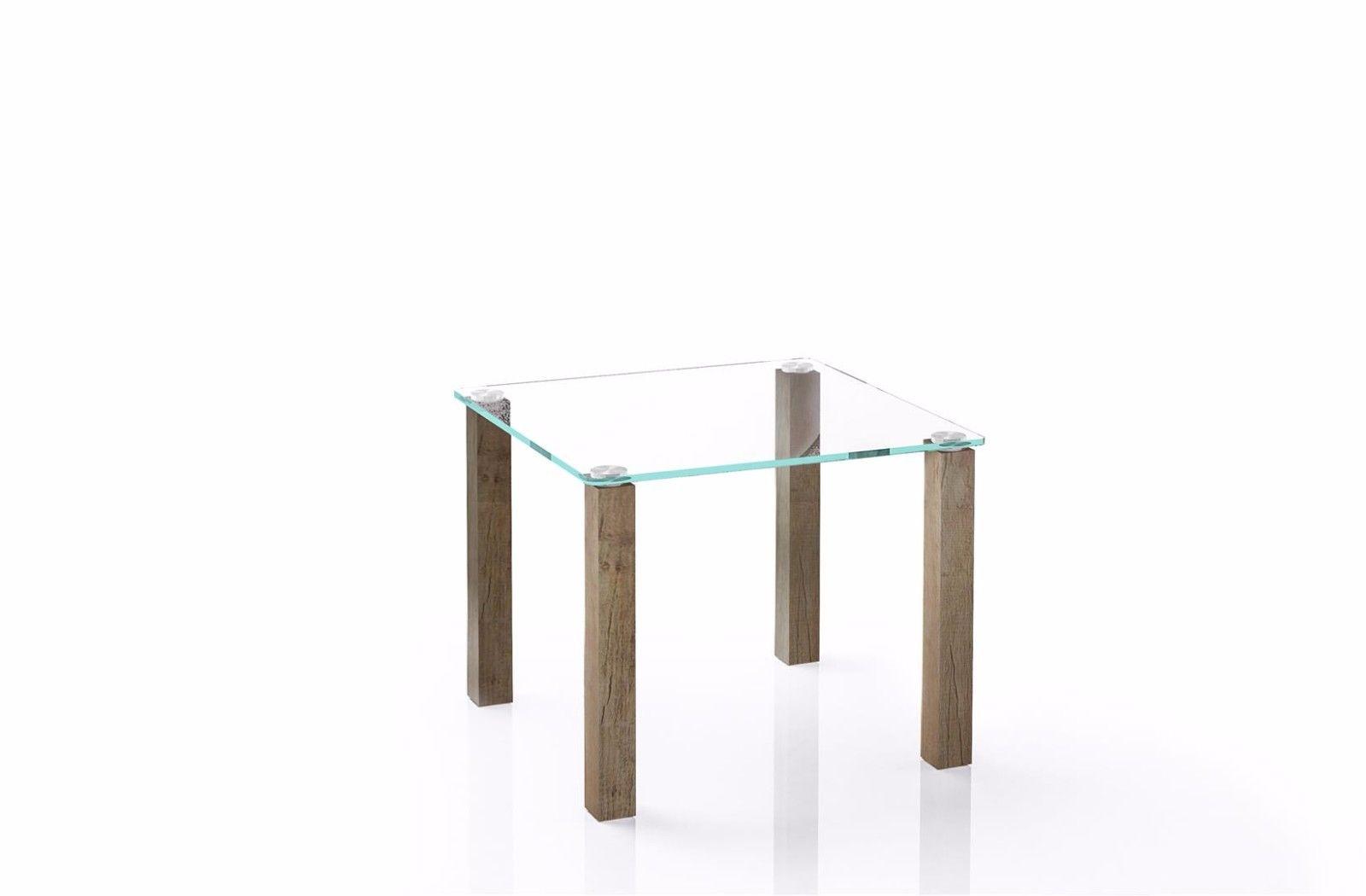 Design Glastisch Eiche Monument Kleiner Beistelltisch Edler
