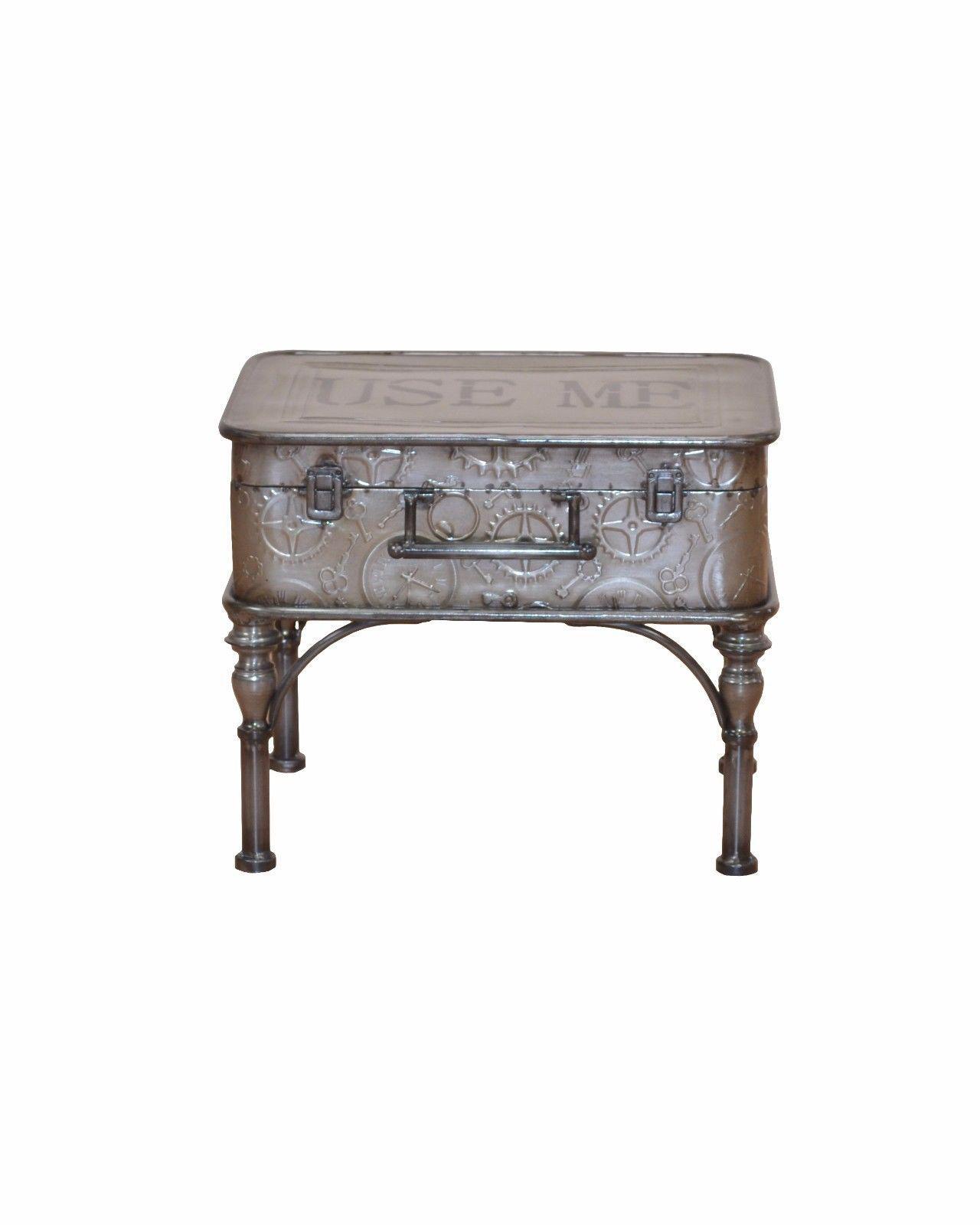 Beistelltisch antik metall  Couchtisch Koffer Metall Beistelltisch Vintage used look design ...