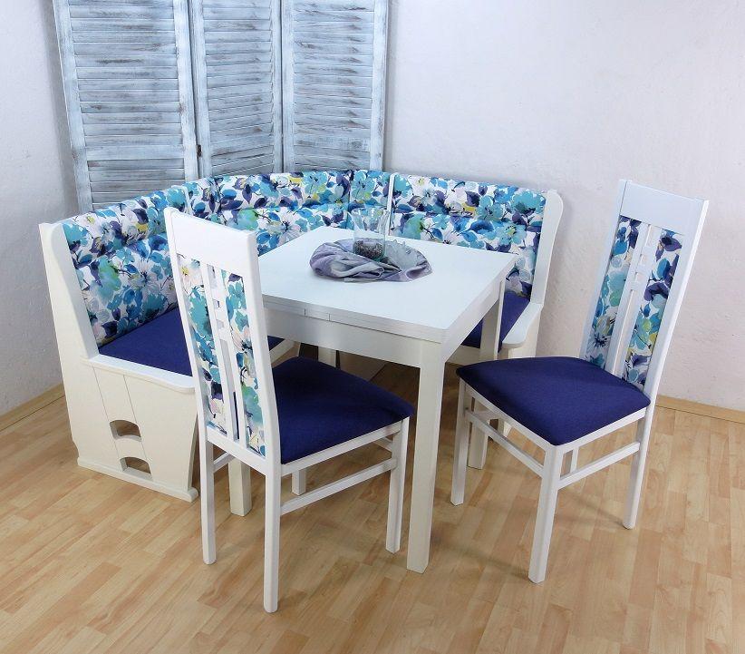 moderne Eckbankgruppe weiß Truheneckbank Tisch Stühle massiv Blumen ...