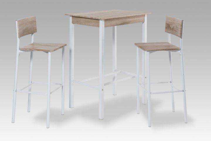 Küchentisch mit barhockern  Bar-Set weiß eiche Stehtisch Esstisch Küchentisch Bartisch ...