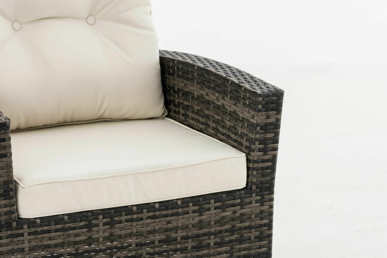 Polyrattan Sessel grau inkl Kissen weiß Gartenstuhl