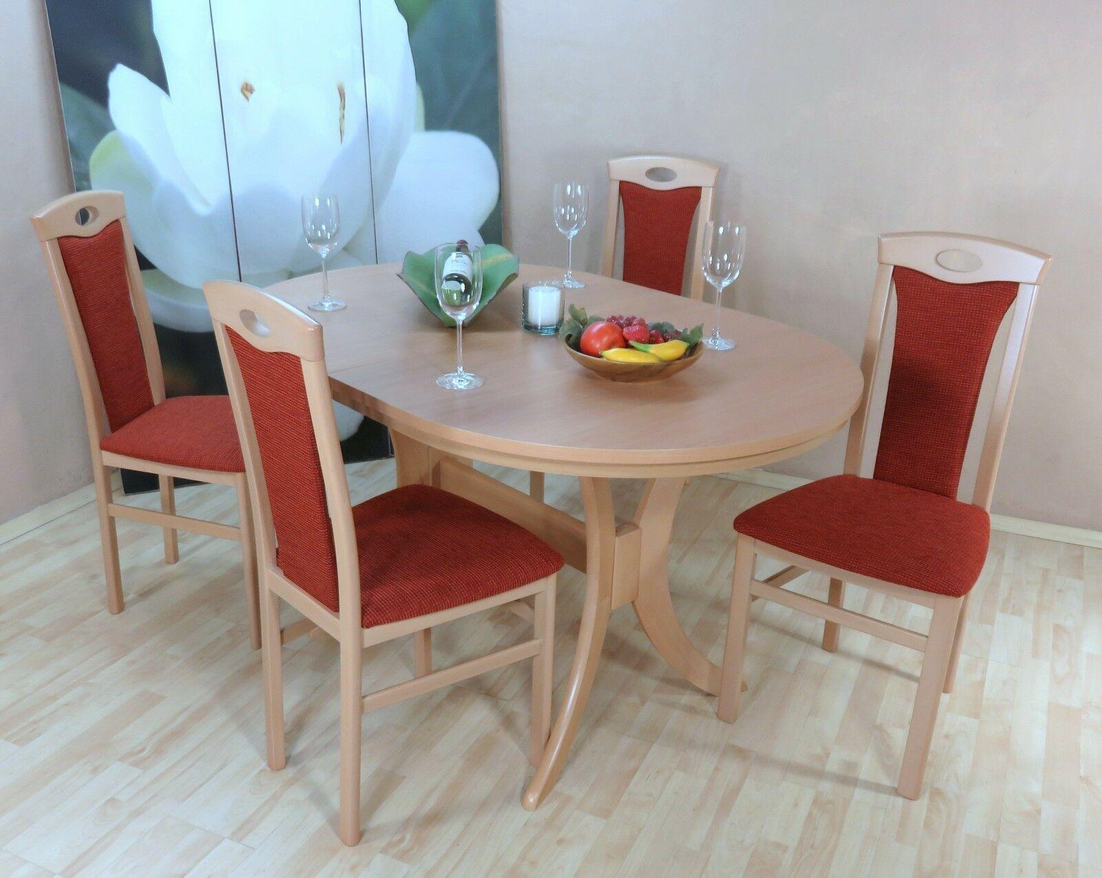 Moderne Tischgruppe 5 Teilig Buche Massiv Natur Terracotta Esstisch