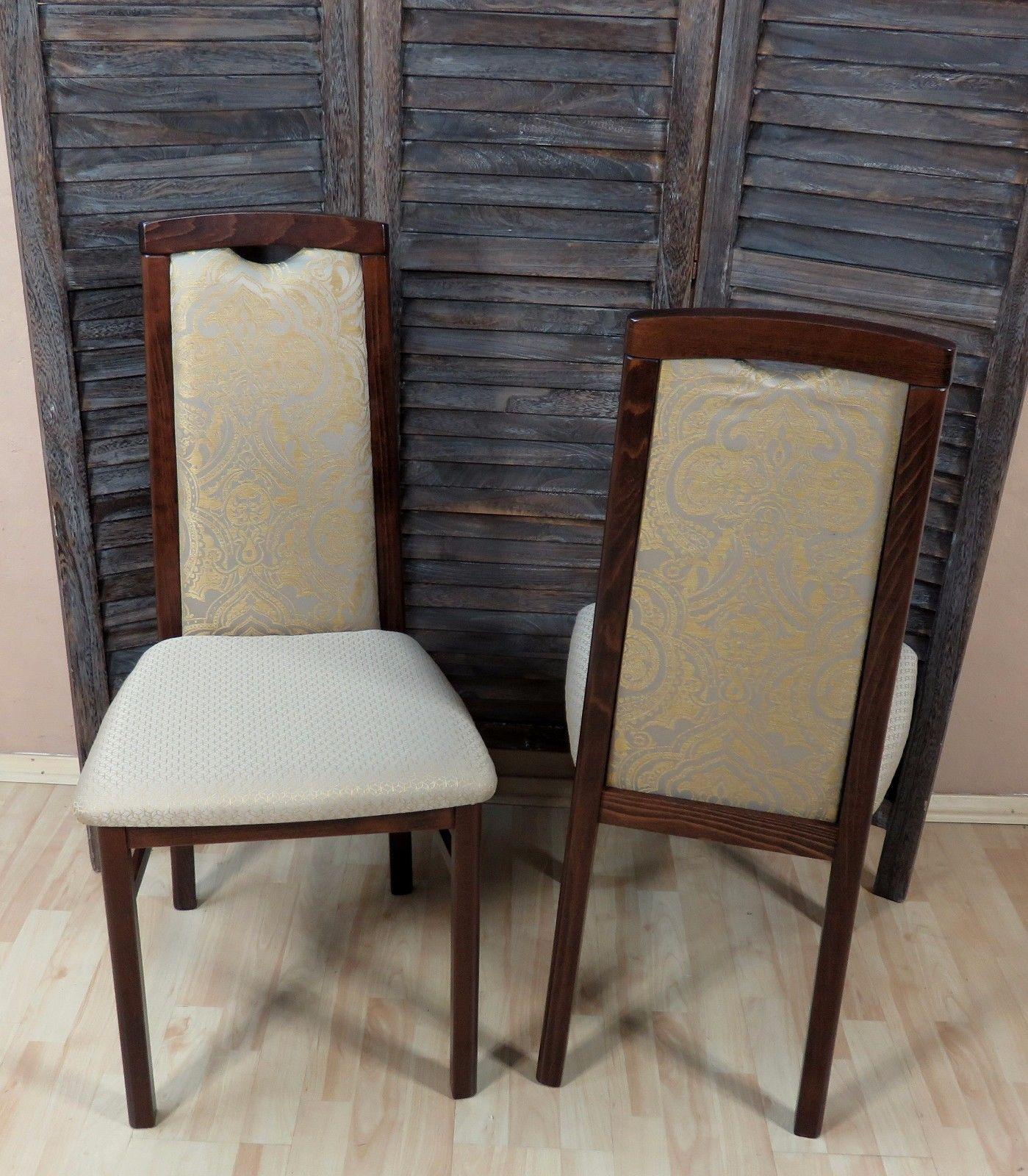 2er Set Stühle massivholz nußbaum creme gold Esszimmerstühle Küche ...