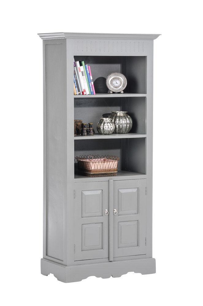Bücherschrank grau Schrank Hochschrank Wohnzimmer Landhausstil ...